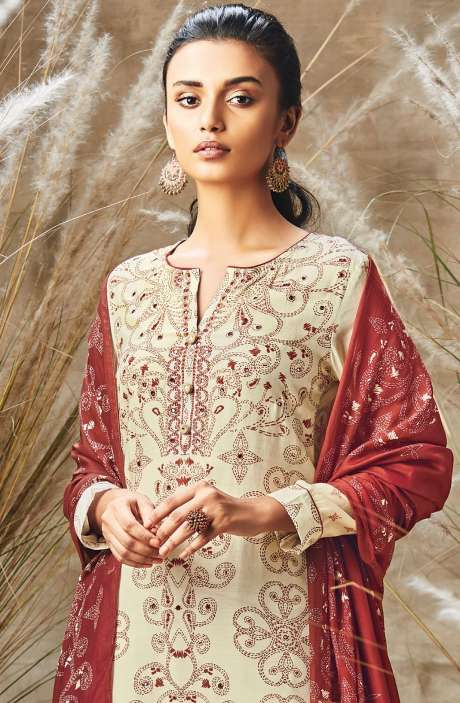 Modal Cotton Digital Print with Mirror Work Salwar Suit In Cream and Red - ROS176
