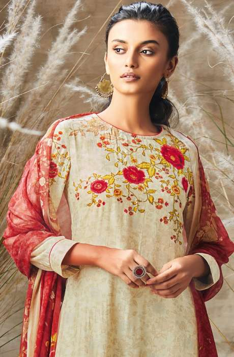 Modal Cotton Digital Print with Embroidery and Sequence Work Salwar Kameez In Cream - ROS197