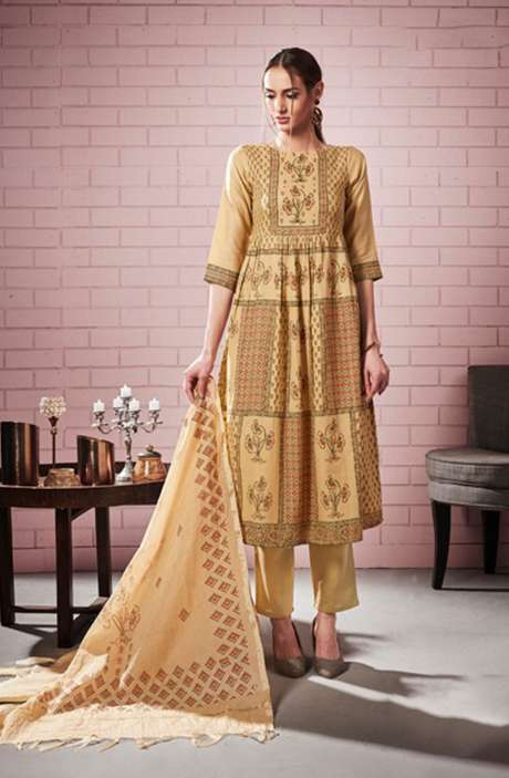 Digital Printed with Motif & Sequins Work  Beige Cotton Salwar Suit with Chanderi Silk Dupatta - ROS4302