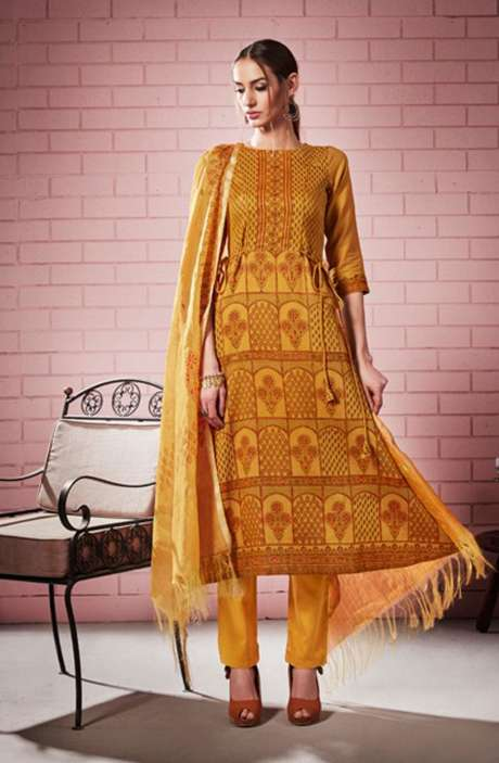 Digital Printed with Motif & Sequins Work  Mustard Cotton Salwar Suit with Chanderi Silk Dupatta - ROS4305
