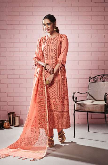 Digital Printed with Motif & Sequins Work  Peach Cotton Salwar Suit with Chanderi Silk Dupatta - ROS4307