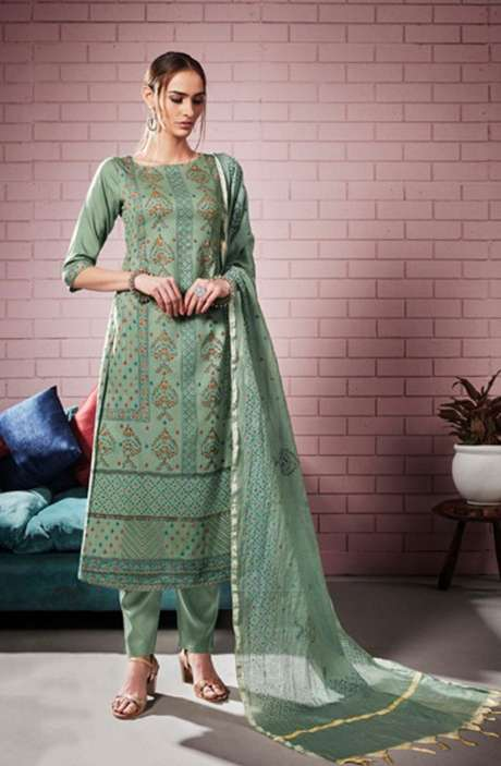 Digital Printed with Motif & Sequins Work  Green Cotton Salwar Suit with Chanderi Silk Dupatta - ROS4309