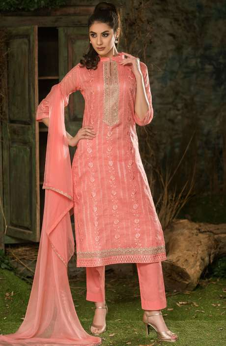 Organdy Cotton Thread Embroidery with Zari Work Peach Unstitched Salwar Suit Sets - ROY2525R