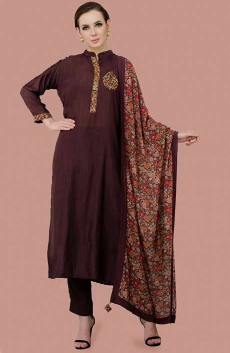Exclusive Stitched Embellished Work Modal and Glazed Cotton Salwar Suit Sets In Coffee Brown - R157-SPR197