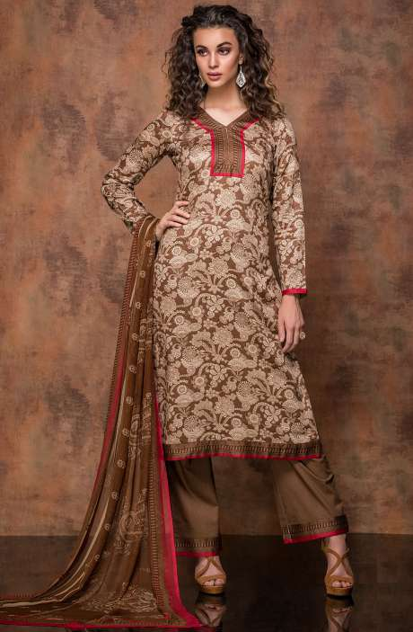 Digital Print Cotton Salwar Kameez In Beige and Brown - RUB1321A