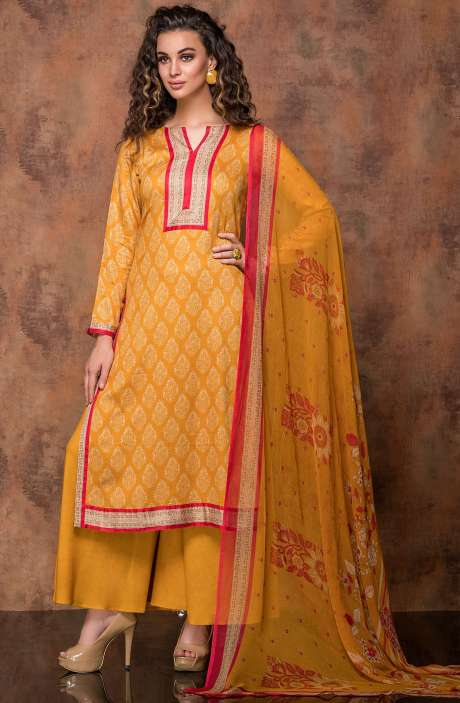 Digital Print Cotton Salwar Kameez In Beige and Mustard Yellow - RUB1322B
