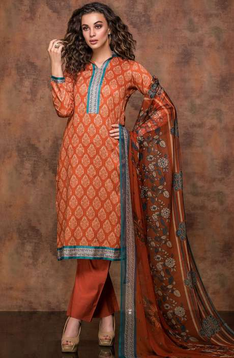 Digital Print Cotton Salwar Kameez In Beige and Rust - RUB1322A