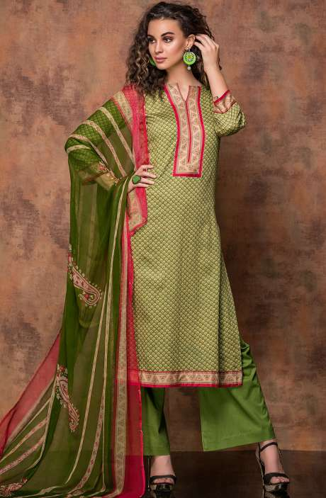 Digital Print Cotton Salwar Kameez In Beige and Leaf Green - RUB1323B