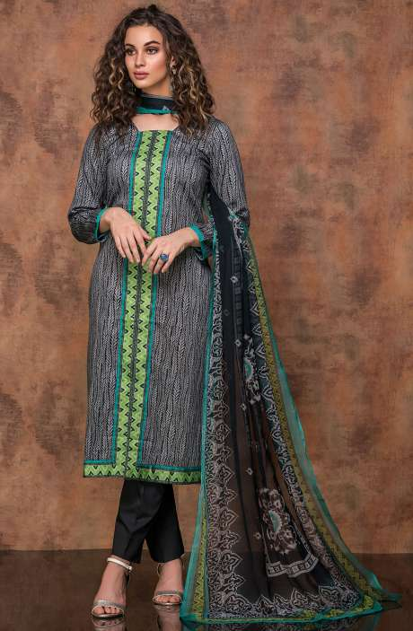 Digital Print Cotton Salwar Kameez In Beige and Black - RUB1324A