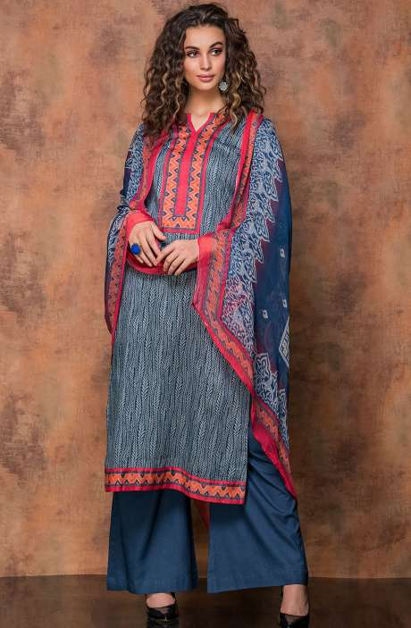 Digital Print Cotton Salwar Kameez In Beige and Blue - RUB1324B