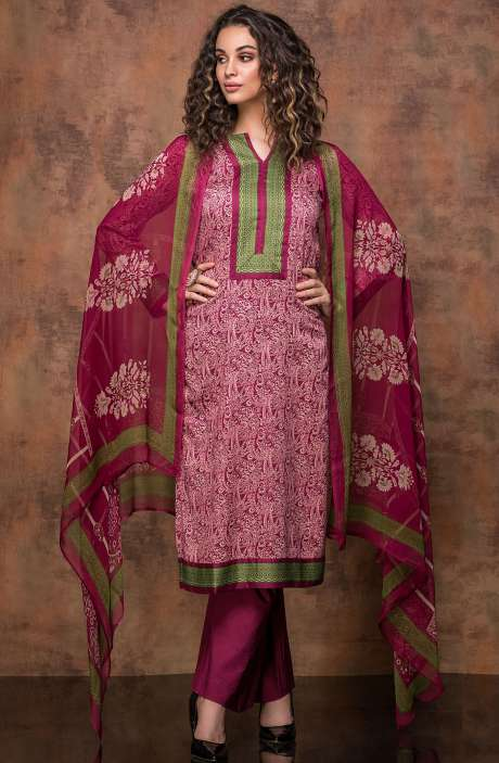 Digital Print Cotton Salwar Kameez In Beige and Magenta - RUB1325A