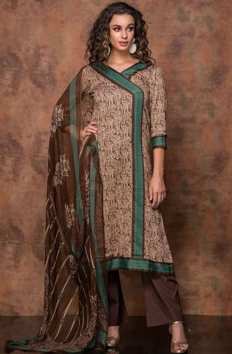 Digital Print Cotton Salwar Kameez In Beige and Brown - RUB1325B