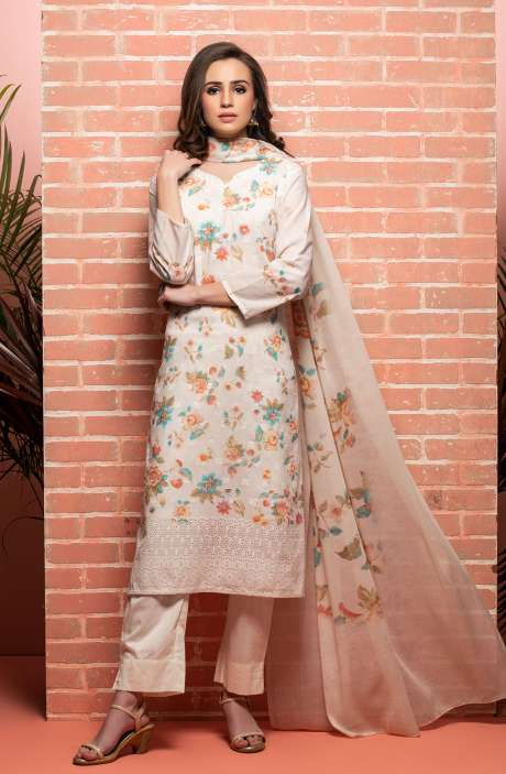 Cotton Beautiful Floral Printed Cream Unstitched Suit with Embroidery - RUH1139