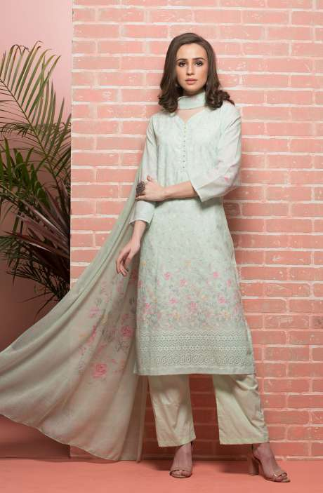 Cotton Beautiful Floral Printed Lime Green Unstitched Suit with Embroidery - RUH1140