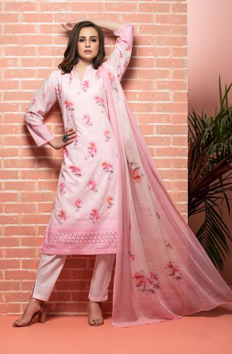 Cotton Beautiful Floral Printed Baby Pink Unstitched Suit with Embroidery - RUH1141