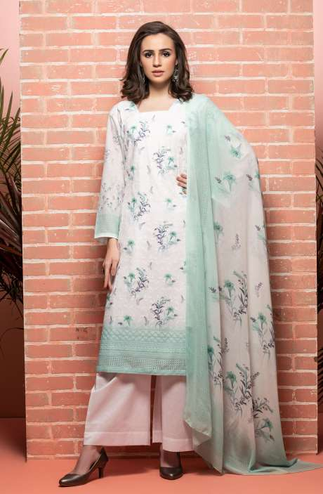 Cotton Beautiful Floral Printed White & Sea Green Unstitched Suit with Embroidery - RUH1142
