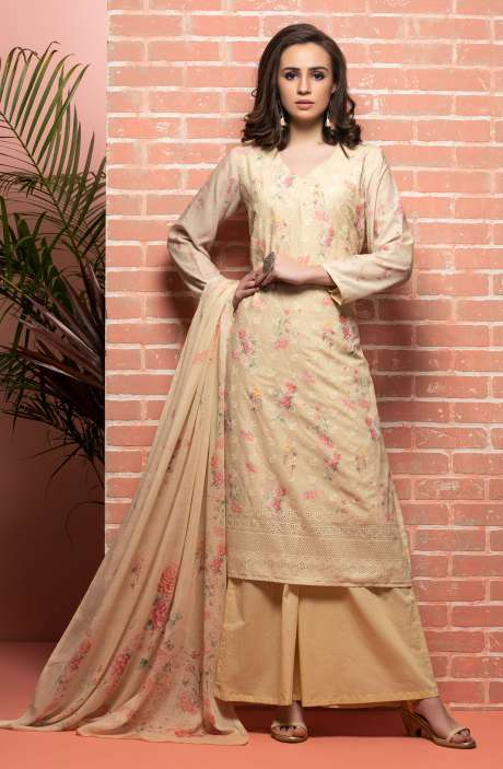 Cotton Beautiful Floral Printed Light Yellow Unstitched Suit with Embroidery - RUH1143