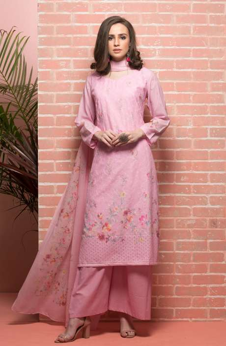 Cotton Beautiful Floral Printed Baby Pink Unstitched Salwar Suit with Embroidery - RUH1144