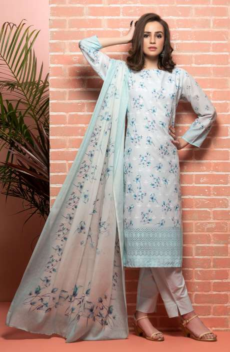 Cotton Beautiful Floral Printed Light Blue Unstitched Suit with Embroidery - RUH1145