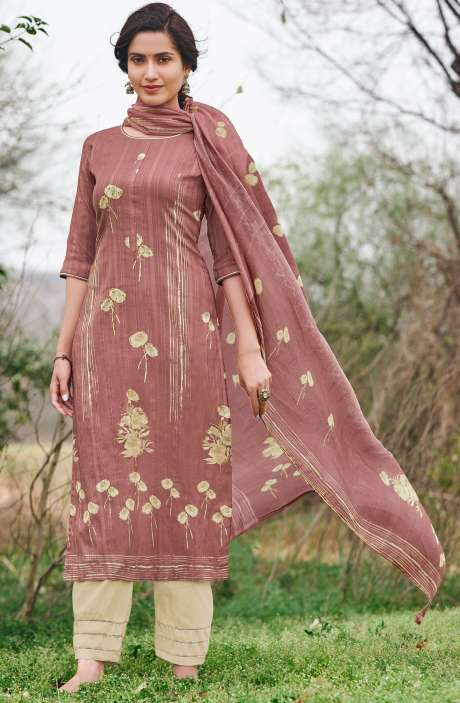 Cotton Dobby Digital Print Casual Suit Sets in Mauve - RUA5061