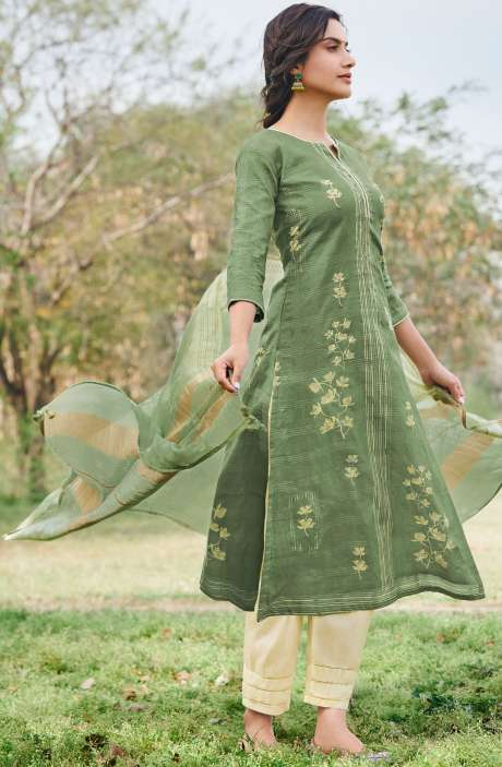 Cotton Dobby Digital Print Casual Suit Sets in Green - RUA5064