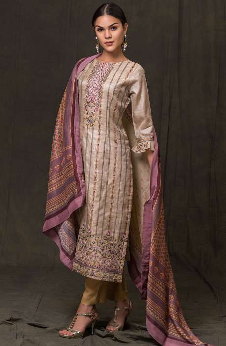 Exclusive Beautiful Embroidery with Zari Work Tussar Silk Salwar Kameez In Beige and Brown - RYO2492-R