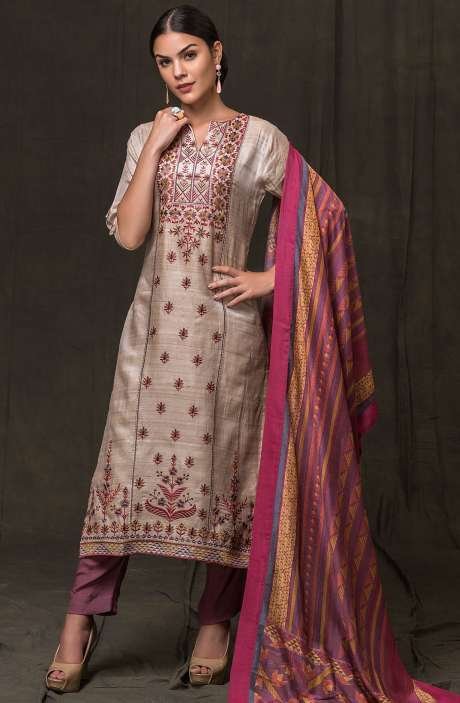 Exclusive Beautiful Embroidery with Zari Work Tussar Silk Salwar Suit In Beige and Mauve - RYO2496-R
