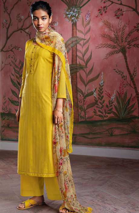 Cotton Foil Prints Salwar Kameez with Chiffon Dupatta in Mustard Yellow - RYUCO275