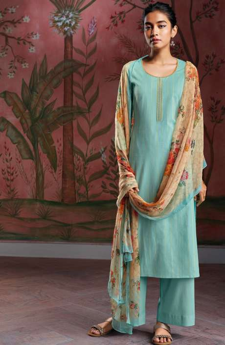 Cotton Foil Prints Salwar Kameez with Chiffon Dupatta in Firozi - RYUCO279