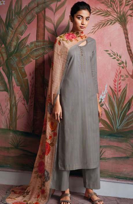 Cotton Foil Prints Salwar Kameez with Chiffon Dupatta in Grey - RYUCO280