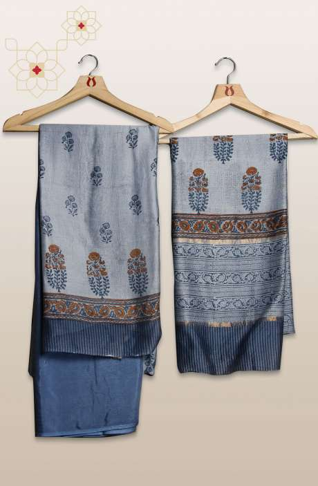 Chanderi Silk Digital Printed Greyish Blue Unstitched Suit Sets - S151/445HK