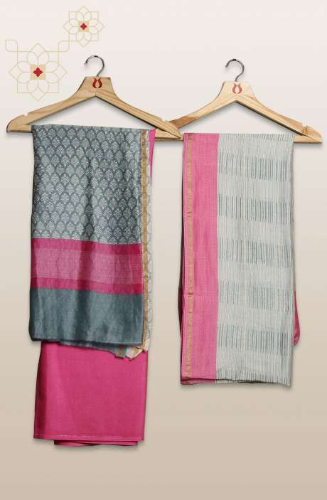 Chanderi Silk Digital Printed Grey & Pink Unstitched Suit Sets - S151/445HL