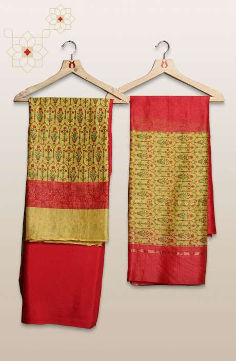 Chanderi Silk Digital Printed Yellow & Red Unstitched Suit Sets - S151/445HMC