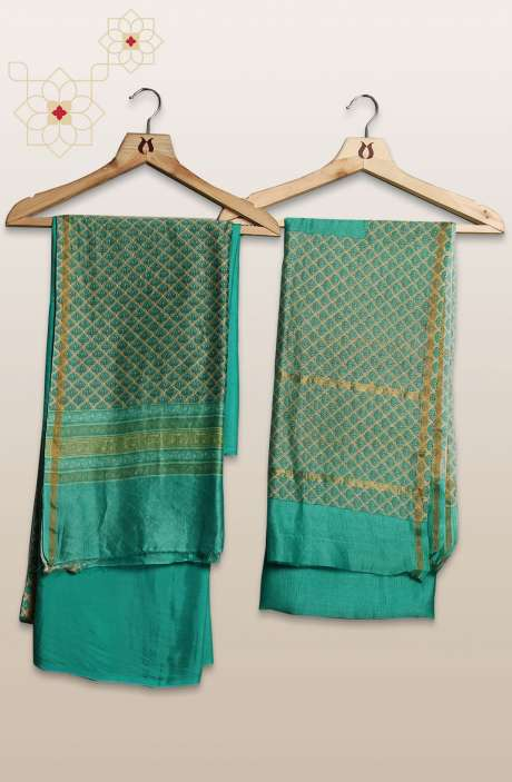 Chanderi Silk Digital Printed Green Unstitched Suit Sets - S151/445HNA