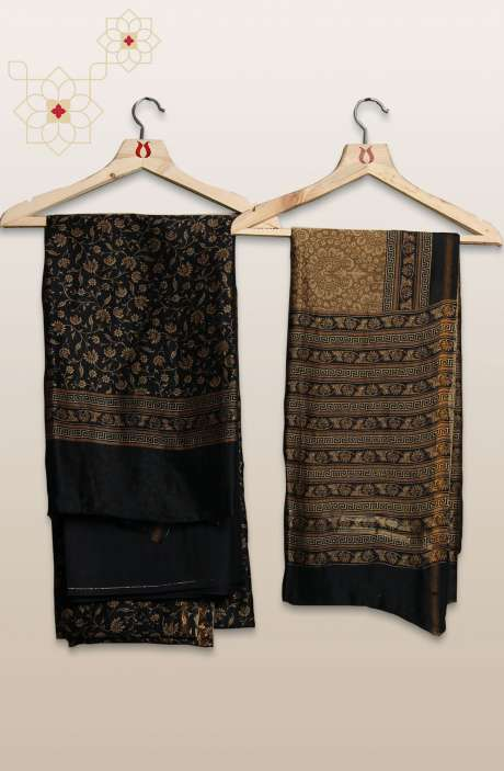 Chanderi Silk Digital Printed Black & Mehndi Unstitched Suit Sets - S151/445HPB