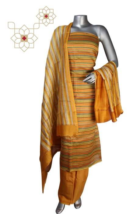 Digital Print Chanderi Salwar Suit in Multi & Mustard - S151-445KEC