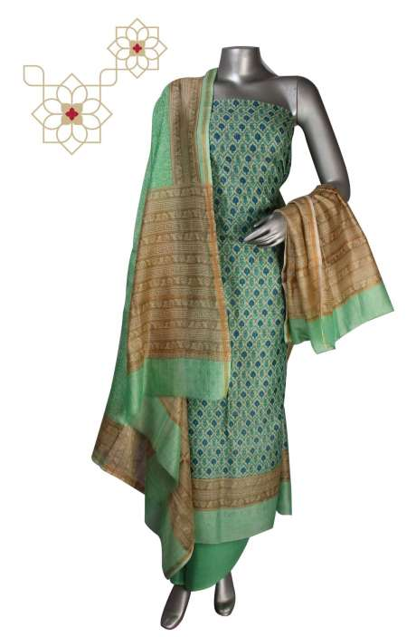 Digital Print Chanderi Salwar Suit in Multi & Lime Green - S151-445KLA