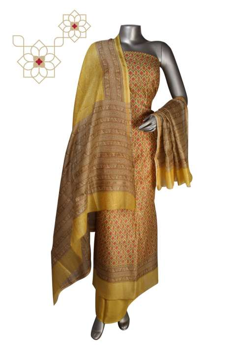 Digital Print Chanderi Salwar Suit in Multi & Yellow - S151-445KLC
