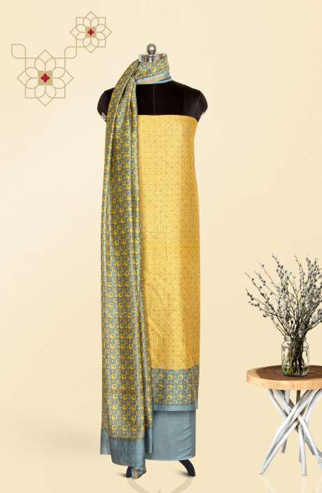 Chanderi Digital Printed Salwar Kameez In Mustard & Grey - S151445-1138B