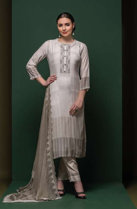 Semi-stitched Exclusive Modal Cotton Trendy Suit Set In Light Grey - SAA8431