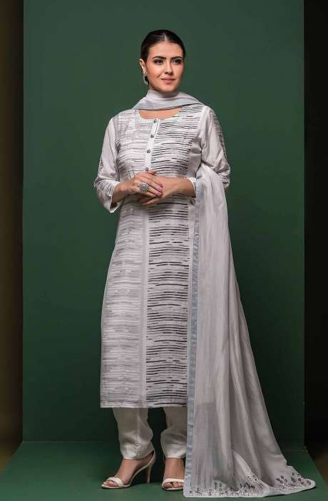 Semi-stitched Exclusive Modal Cotton Trendy Suit Set In Light Grey - SAA8611