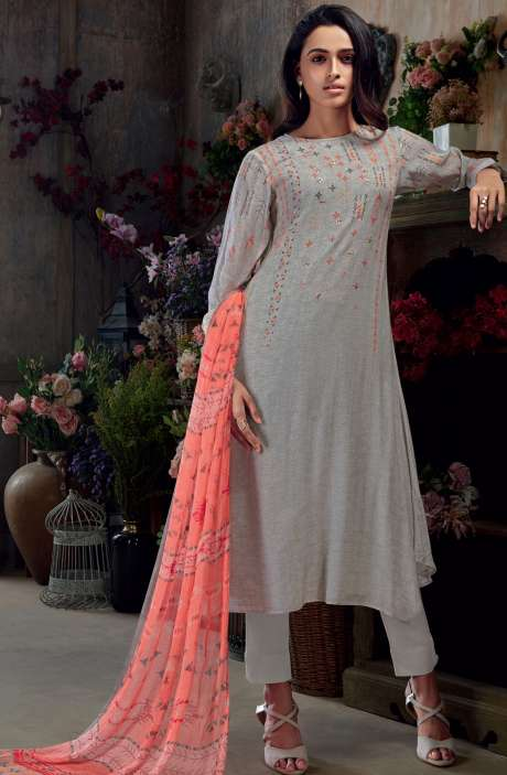 Muslin Silk Digital Print with Hand Work Salwar Kameez In Grey - SAC3005