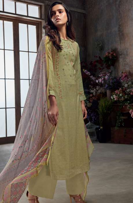 Muslin Silk Digital Print with Hand Work Salwar Kameez In Mehndi Green - SAC3007