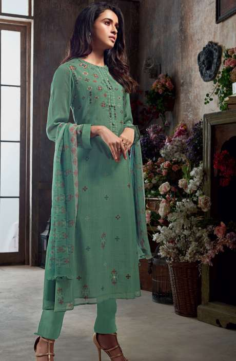 Muslin Silk Digital Print with Hand Work Salwar Kameez In Green - SAC3018