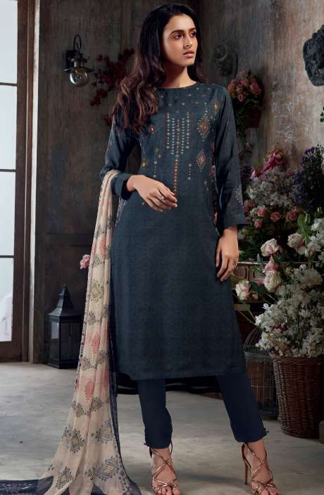 Muslin Silk Digital Print with Hand Work Salwar Kameez In Blue - SAC3040