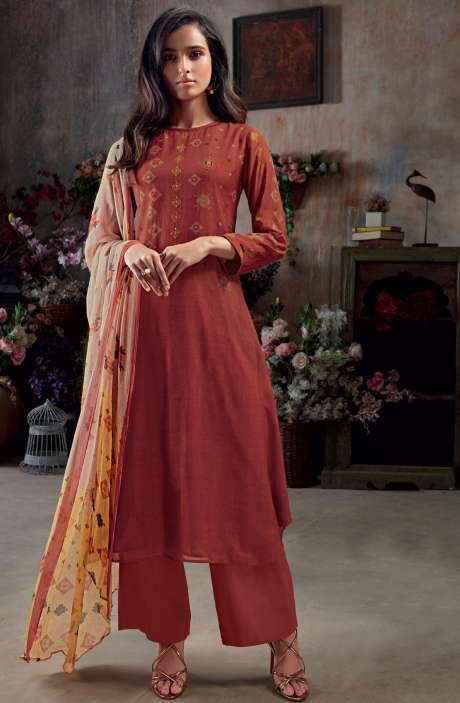 Muslin Silk Digital Print with Hand Work Salwar Kameez In Rust - SAC3045
