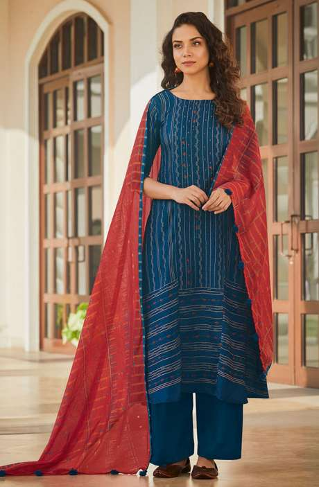 Spun Winterwear Printed Salwar Kameez In Blue with Muslin Silk Dupatta - SAG5621