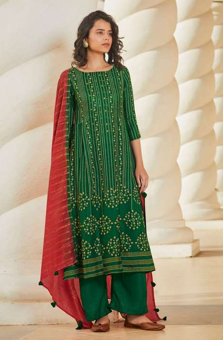 Spun Winterwear Printed Salwar Kameez In Bottle Green with Muslin Silk Dupatta - SAG5626