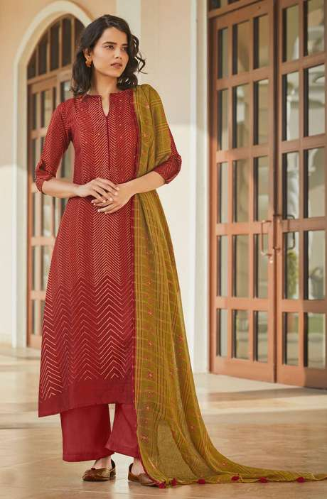 Spun Winterwear Printed Salwar Kameez In Rust with Muslin Silk Dupatta - SAG5627