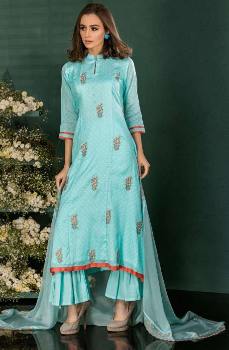 Turquoise Blue Cotton Digital Print Salwar Kameez with Beautiful Floral Embrodery - SAI2530